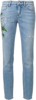 Dolce & Gabbana floral patch straight-leg jeans - women - Cotton - 42