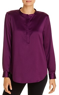 Eileen Fisher Petites Satin Henley Blouse - 100% Exclusive