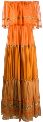 Alberta Ferretti Off The Shoulder Maxi Dress