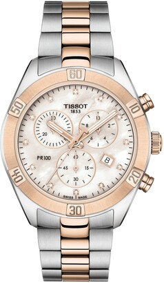 Tissot PR 100 Diamond Chronograph Bracelet Watch, 38mm