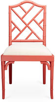 AA Importing Mae Bamboo Side Chair, Coral/White Linen