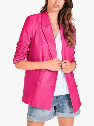 Hush Eve Relaxed Fit Double Breasted Blazer, Pink