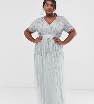 Maya Plus mesh all over scattered sequin pleated maxi dress in ice blue