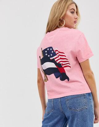 Tommy Jeans summer heritage flag logo t-shirt-Pink
