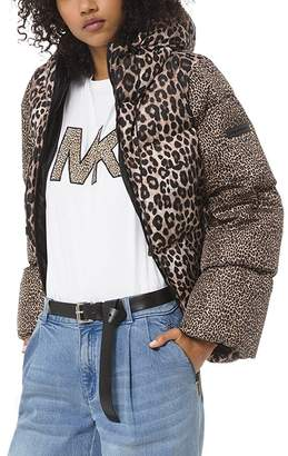 MICHAEL Michael Kors Mixed Leopard-Print Down Jacket