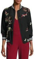 Alice + Olivia Lila Embroidered Bomber Jacket, Multicolor