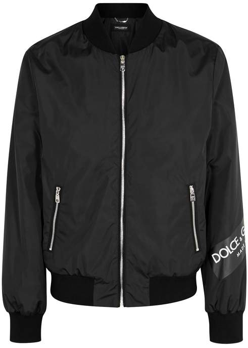 Dolce & Gabbana Logo Tape Black Shell Bomber Jacket