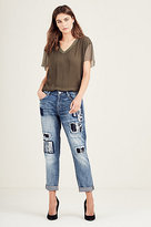 True Religion Cameron Boyfriend Jacquard Patch Womens Jean