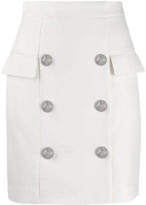 Balmain Embossed Buttons Mini Skirt