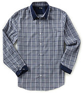 Murano Slim-Fit Point Collar Pieced Windowpane Long-Sleeve Sportshirt