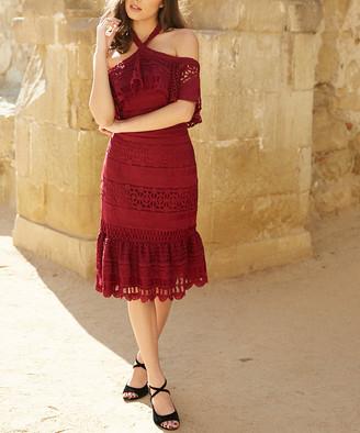 Trish Scully Women's Special Occasion Dresses - Burgundy Aurora Dress - Women