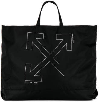 Off-White Off White Unfinished Tote Bag in Black & Silver | FWRD