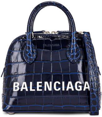 Balenciaga XXS Embossed Croc Ville Top Handle Bag in Navy & White | FWRD