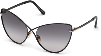 Tom Ford Leila Dramatic Metal Cat-Eye Sunglasses