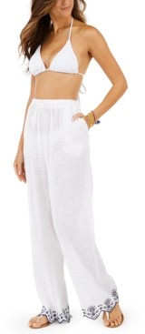 Dotti Rosemary Cotton Embroidered Cover-Up Pants Women's Swimsuit