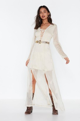 Nasty Gal Womens All On Embroidered Lace-Up Maxi Dress - White - 6, White