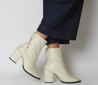 Office Attribute Back Zip Block Heels Off White Leather