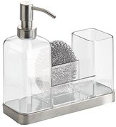 InterDesign Forma Kitchen Soap Dispenser Pump, Sponge, Scrubby and Dish Brush Caddy Organizer - Clear/Brushed Stainless