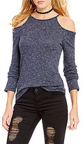 GB Ribbed Tie-Back Cold Shoulder Sweater