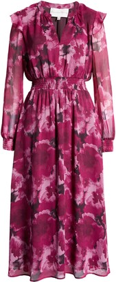 Charles Henry Floral Long Sleeve Smocked Midi Dress