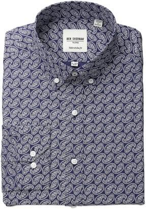 Ben Sherman Men's Slim Fit Paisley Dress Shirt