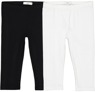 La Redoute Collections Pack of 2 Plain Short Cotton Leggings, 3-12 Years