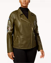 INC International Concepts Plus Size Embroidered Faux-Leather Jacket, Created for Macy's