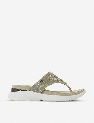 Dune E Louise embellished woven flip-flop sandals