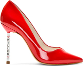 Webster Sophia Red Patent Leather Lyla Text Heel Pumps