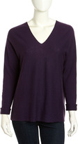 Vince Wool-Cashmere Double-V Sweater, Eggplant