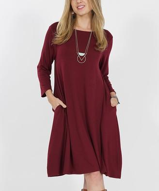 Lydiane Women's Casual Dresses DKBURGUNDY - Dark Burgundy Crewneck Three-Quarter Sleeve Pocket Tunic Dress - Women & Plus