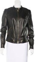 HUGO BOSS Leather Zip-Up Jacket