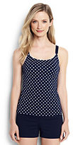 Classic Women's Petite Scoopneck Tankini Top-Deep Sea Dot
