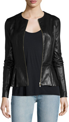 The Row Anasta Zip-Front Leather Jacket, Black