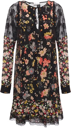 RED Valentino Lace-trimmed Floral-print Silk Crepe De Chine Mini Dress
