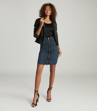 Reiss Tamara - Zip Detail Ruched Pencil Skirt in Teal