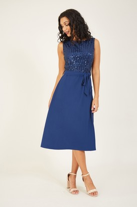 Yumi Navy Sequin Skater Dress With Woven Skirt