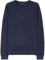 Calvin Klein Navy Textured Cotton Jumper