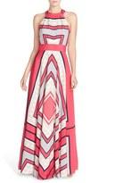 Eliza J Women's Scarf Print Crepe De Chine Fit & Flare Maxi Dress