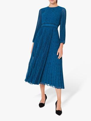 Hobbs Petite Isabella Spot Pleated Midi Dress, Kingfisher