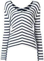 Twin-Set V-neck striped jumper - women - Polyester/Viscose - XL