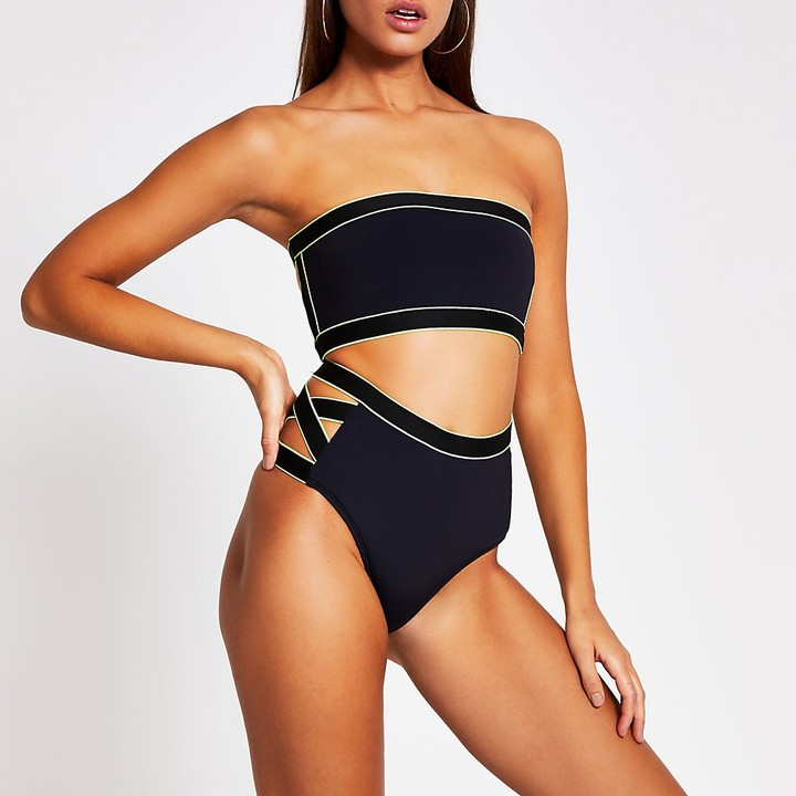 Vince Camuto Womens High Waist Bikini Bottom Swimsuit with Cut Out Detail