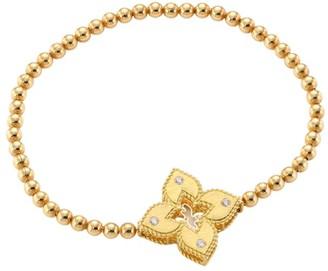 Roberto Coin Petite Venetian Large Station 18K Yellow Gold & Diamond Stretch Bracelet