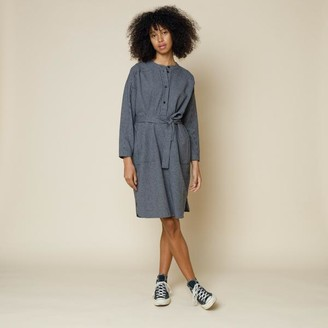 Folk Stack Shirt Dress Navy Mini Check - 0