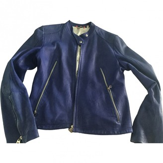 Doma Blue Leather Jacket for Women