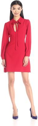 Jill Stuart Jill Women's Long Sleeve Keyhole Crepe Dress