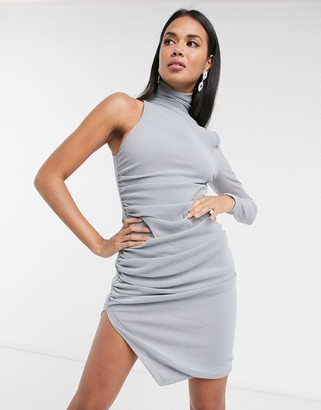 Aria Cove one-sleeve drape mini dress in silver