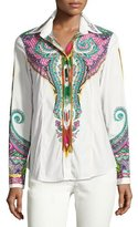 Etro Paisley & Ikat Cotton Blouse, White/Green