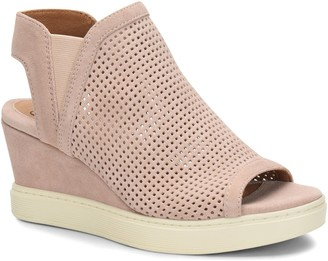 Sofft Leather Peep-Toe Sneaker Wedges - Basima