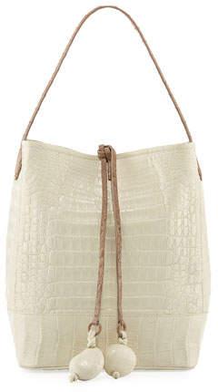 Nancy Gonzalez Medium Two-Tone Crocodile Bucket Bag w/ Rings